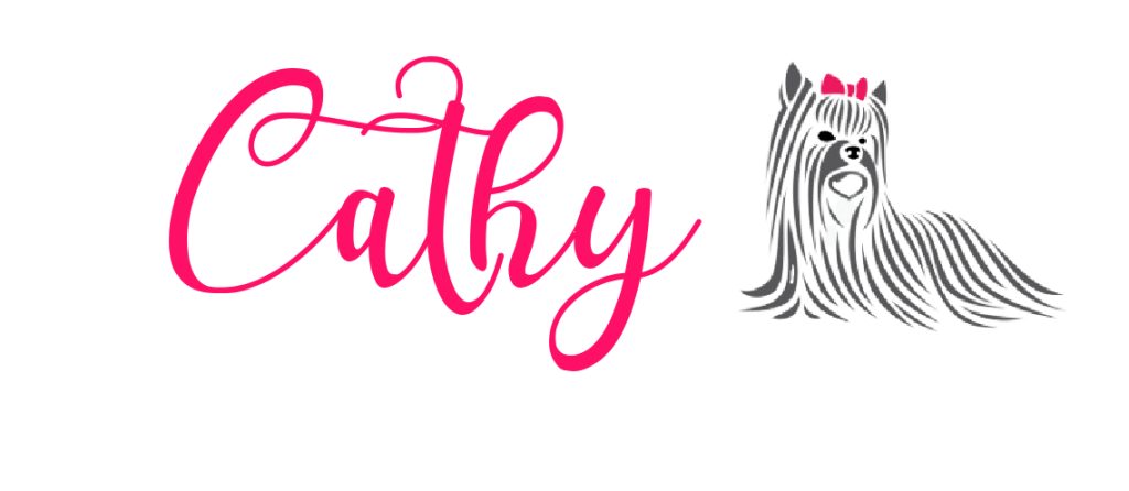 Cathy signature with Yorkie drawing